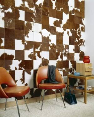 Yup, those are cow hide tiles! Incredible texture and vibrant, natural hues!