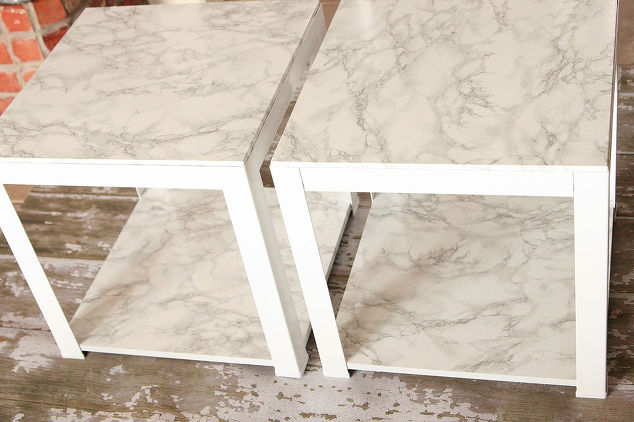 I found this project on the HomeTalk website. The author found these tables at Target on super sale, didn't like the tops...presto change-o (with Faux Marble Contact paper) and they look like they are marble top tables!