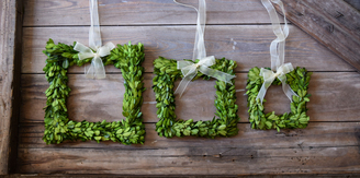 Who says wreaths have to be round? These preserved boxwood wreaths are available from Mills Floral Co. a family run business in GA.