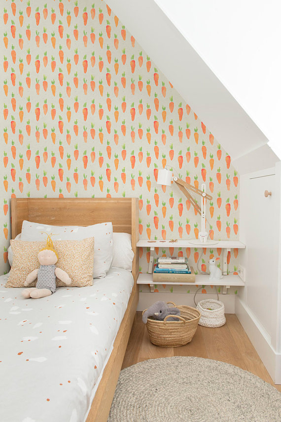 I found this adorable removable wallpaper on Etsy in a store called  Water   Color Workshop .  This little nook is so adorable with the water color carrots that you don't mind that its a bit tight in here!