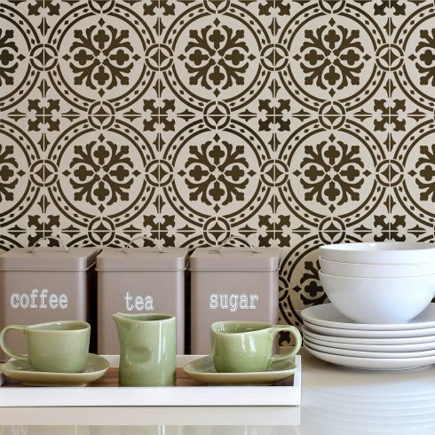 This Calista Tile stencil from Cutting Edge Stencils creates a great back splash in this kitchen.