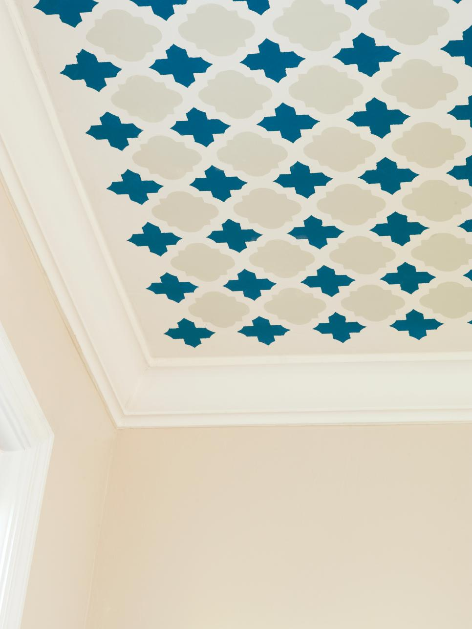 HGTV featured this stencil project in one of its blogs. This really transforms the ceiling in this room!