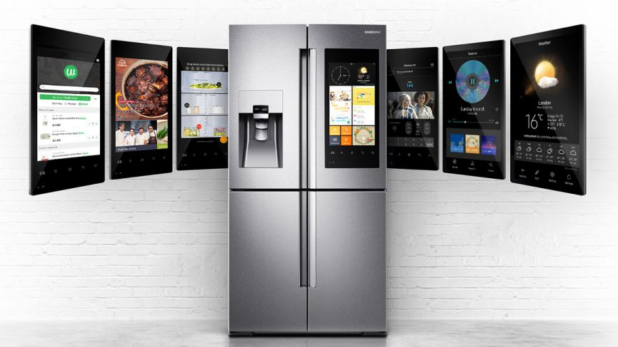 Samsung's line of Family Hub refrigerators have a large display screen that enables you to see your calendar, play music and order groceries. Inside are cameras you can access with you phone to see what is inside. Then you know when you are running low on milk if your at the grocery store.