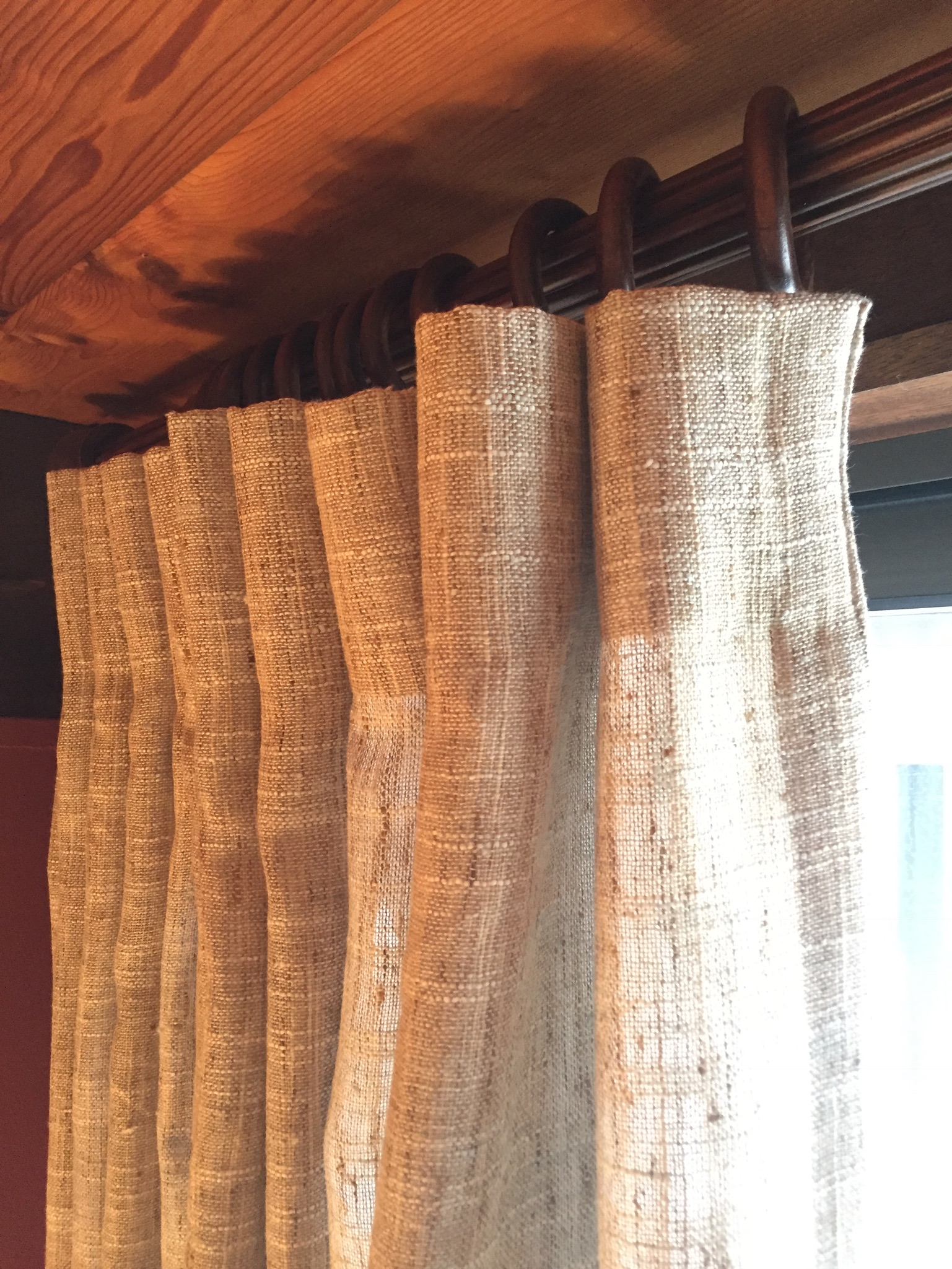 """This fabric is rather sheer. The client wanted to have privacy but still have filtered light in the room. This fabric from  Pindler & Pindler  was perfect for these sliders. At 118"""" wide, our workroom pleated up a full width for each panel and we used 2 panels to cover the door."""