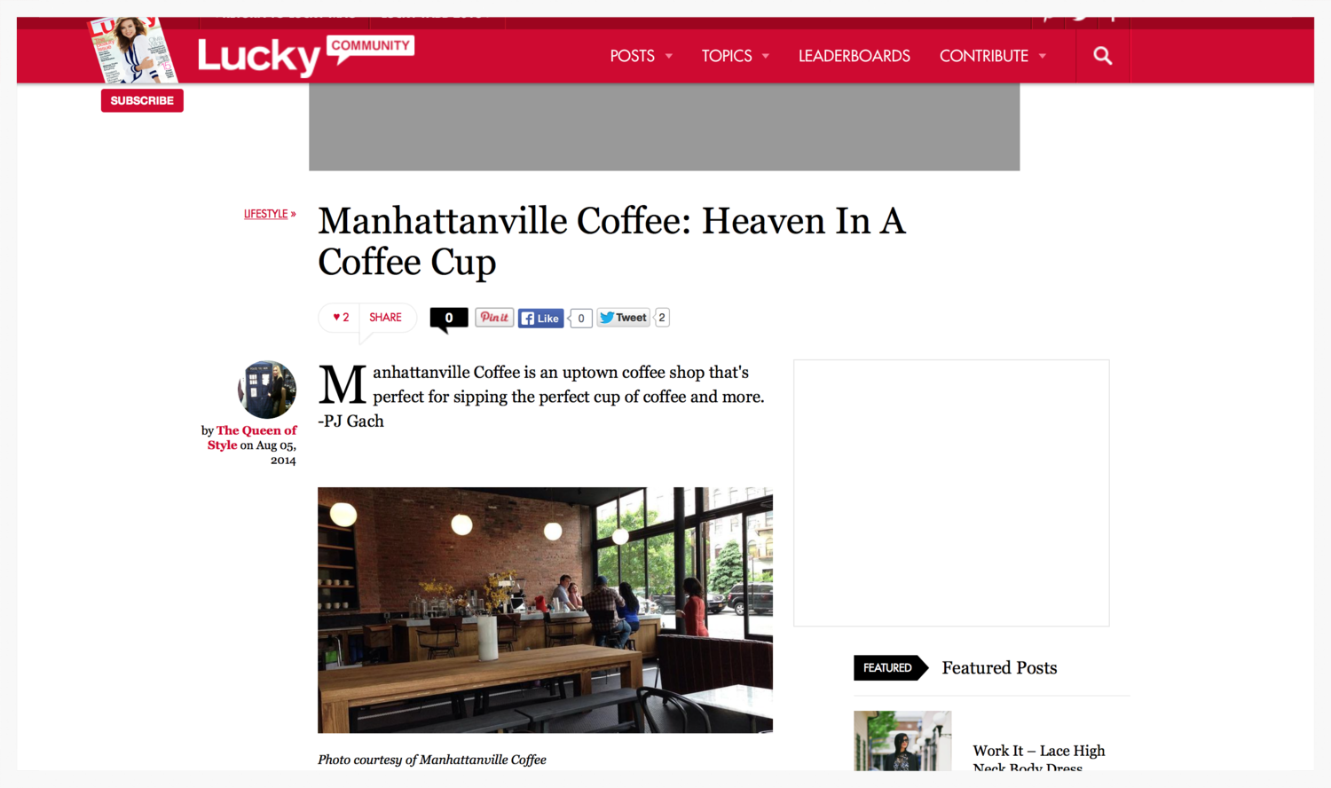 Manhattanville Coffee review by luckymag.com
