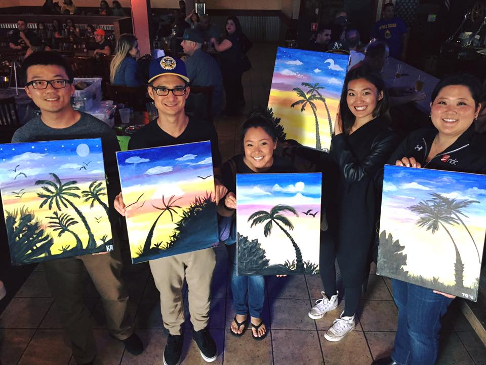 """Members of the om group, including om director, jenna yamaguma (center) at """"paint nite"""""""