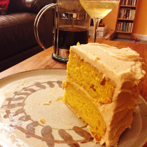 Pumpkin Layer Cake with Maple Cream Frosting. I made this. Yes. Yes, I did.