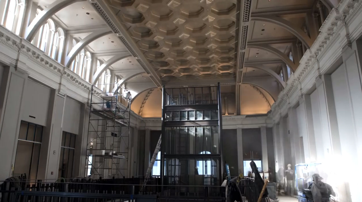 RH Boston - refinishing of ceiling and installation of glass elevator.
