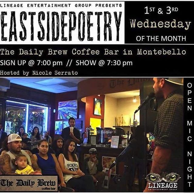 Hope to see you tonight at the DailyBrew coffeebar for a great night love poetry and spoken words and music see you here