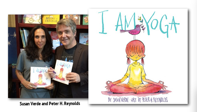 Susan Verde and Peter H. Reynolds pictured here unveiling their I AM YOGA book at Peter's own bookshop The Blue Bunny Bookstore.