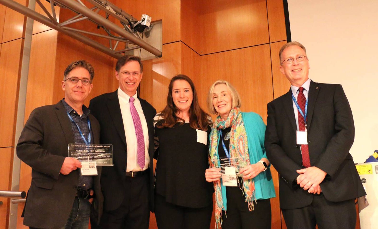 From left to right: FableVision CEO Paul Reynolds, Luther Markwart (Terry Markwart's brother), Lindsay Markwart (Terry Markwart's daughter), Dr. Peggy Healy Stearns, and Thomas Miller, director, ITCG Inkjet Printer Marketing, Canon U.S.A.