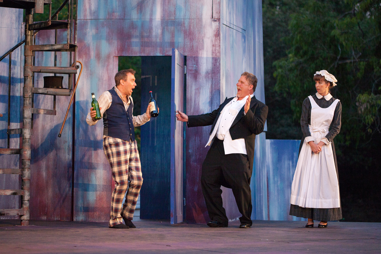 David Melville, Danny Campbell and Julia Aks in Twelfth Night, 2014. Photo: Grettel Cortes.