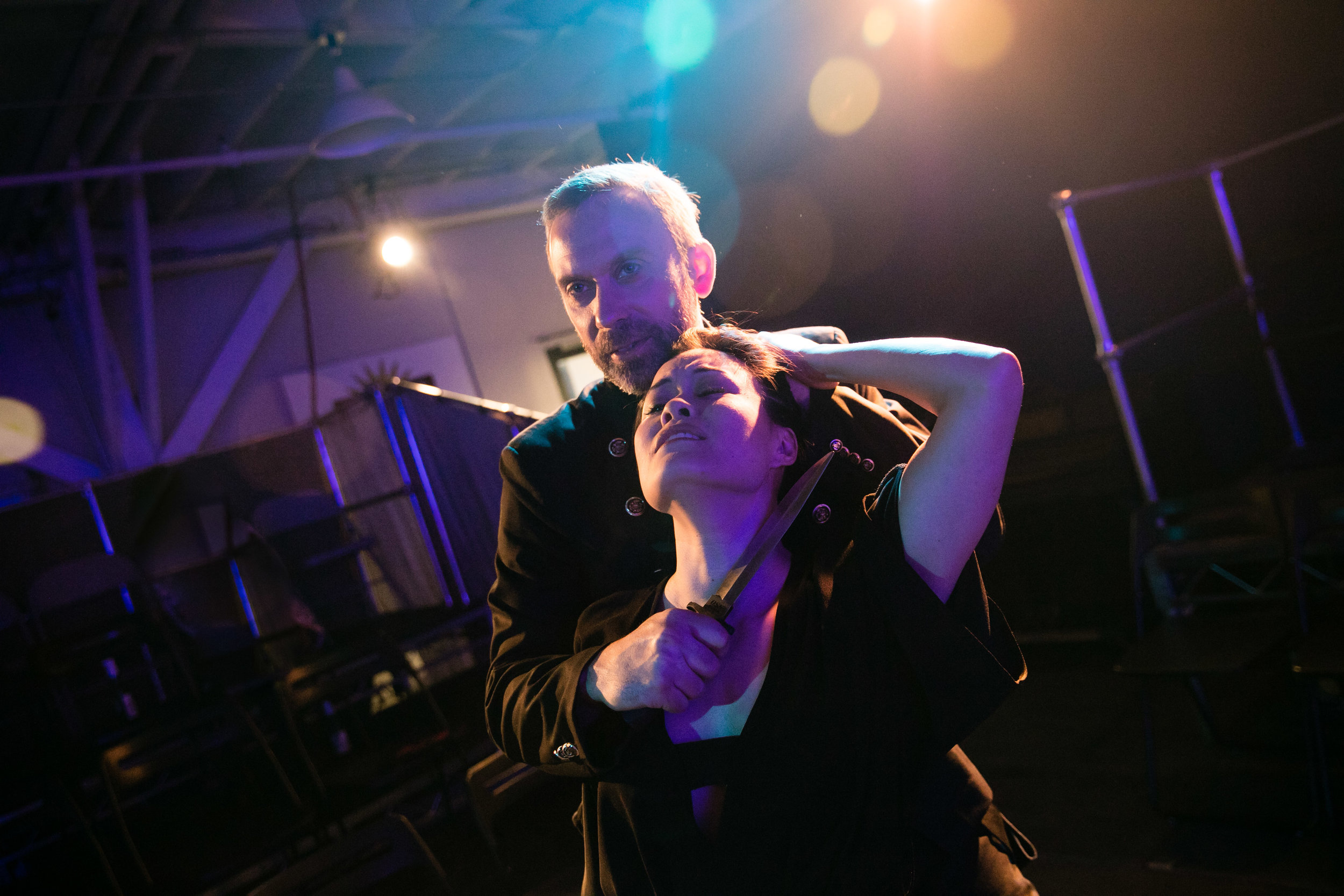 David Melville as Iago and Fiona Cheung as Emilia in Othello, 2016.