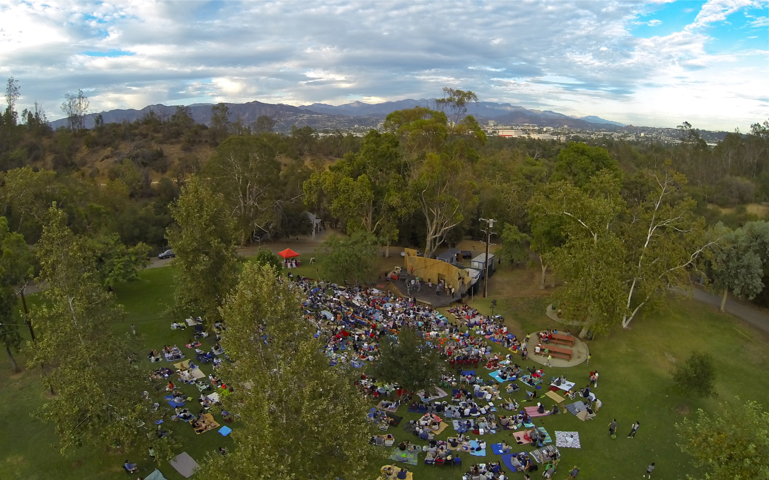 Aerial shot by Colin Burgess. 2013 Griffith Park Free Shakespeare Festival.