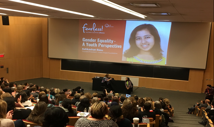 "Kehkashan speaking at the ""Fearless Woman Summit"" in Ottawa"