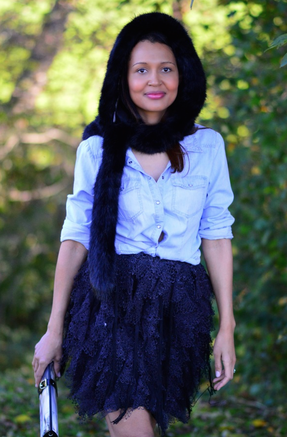scarf + denim shirt + lace skirt + - Currently Wearing via This Photographer's Life