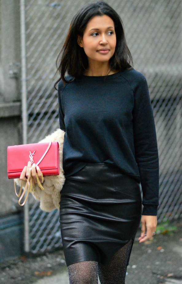 black sweater + black skirt + red bag - Currently Wearing via This Photographer's Life