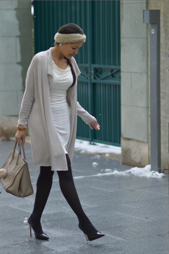 White dress + cream sweater + back tights + purse - Currently Wearing via This Photographer's Life
