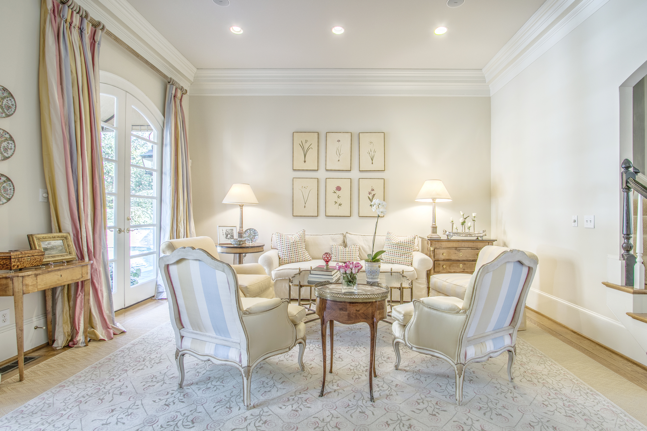 Framed photos in the formal living room