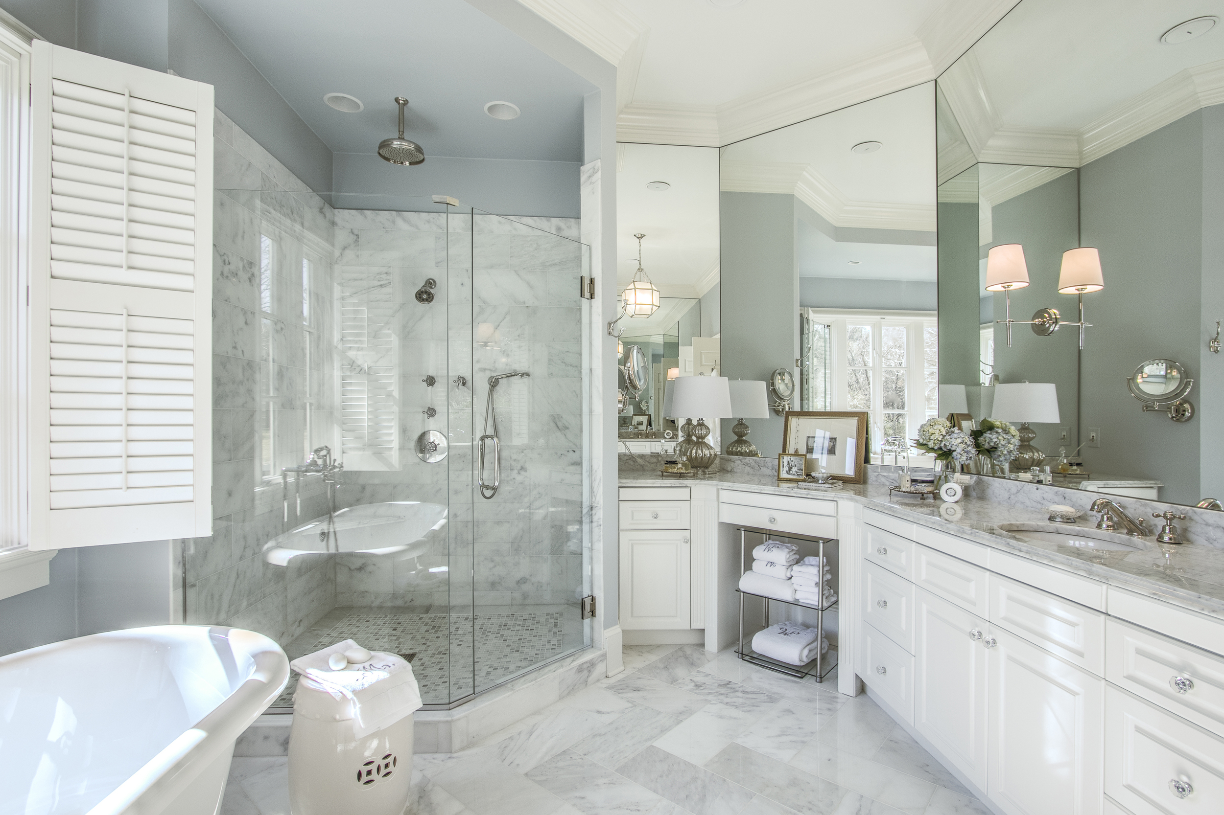 Master bath with marble countertops