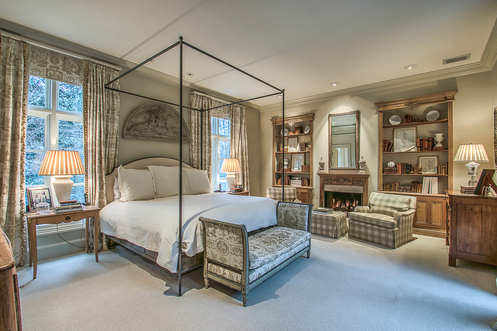 French master Bedroom with Carpet, Fireplace and Built-ins