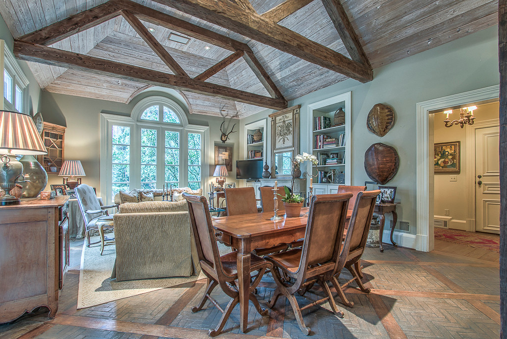 French Kitchen with brick and wood floors and beams