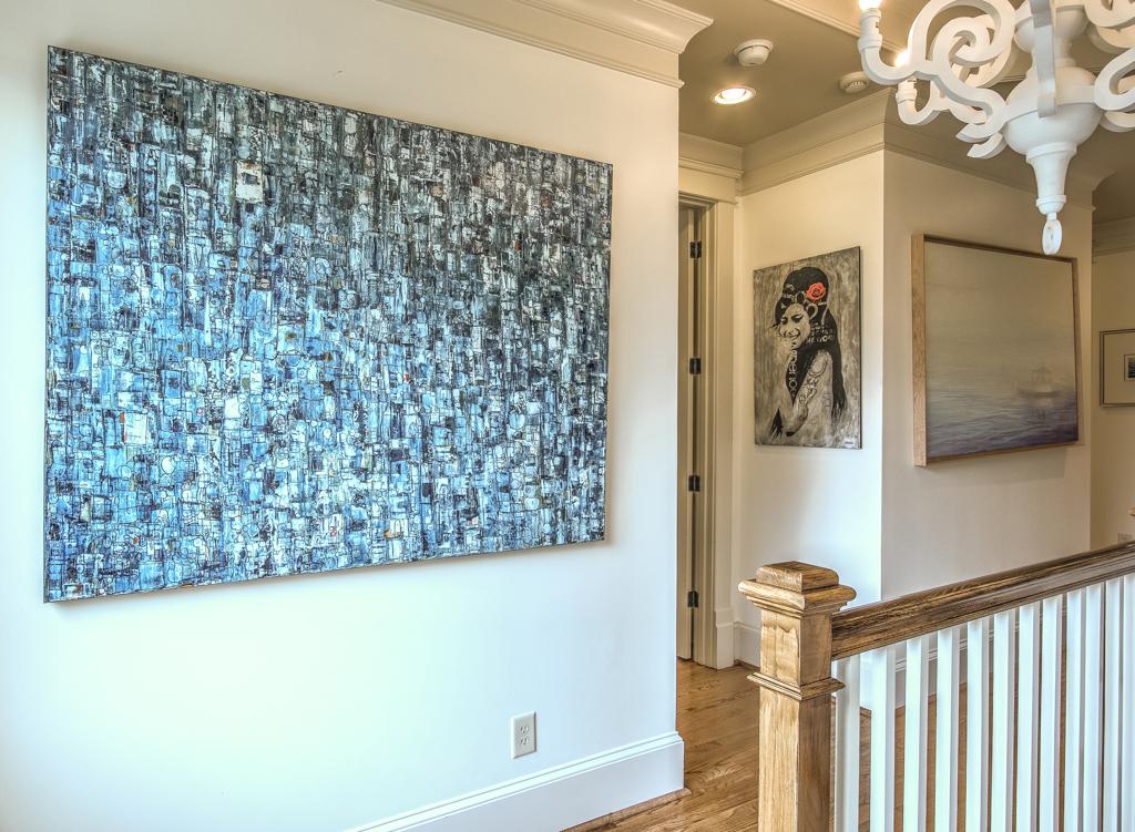 Art in an upstair hallway