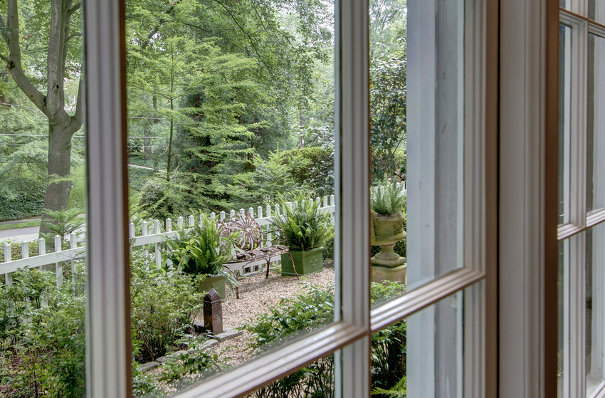 Out of window into garden