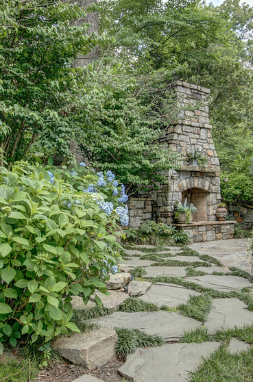 Stacked Stone Fireplace and Hydrangeas