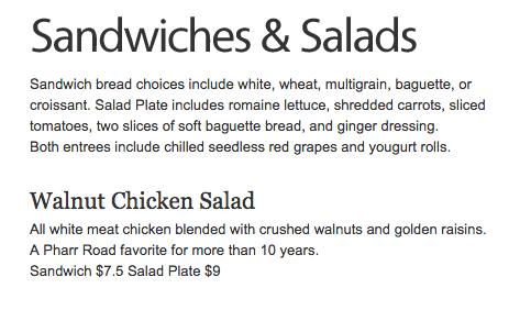 Cafe at Pharr Walnut Chicken Salad Plate