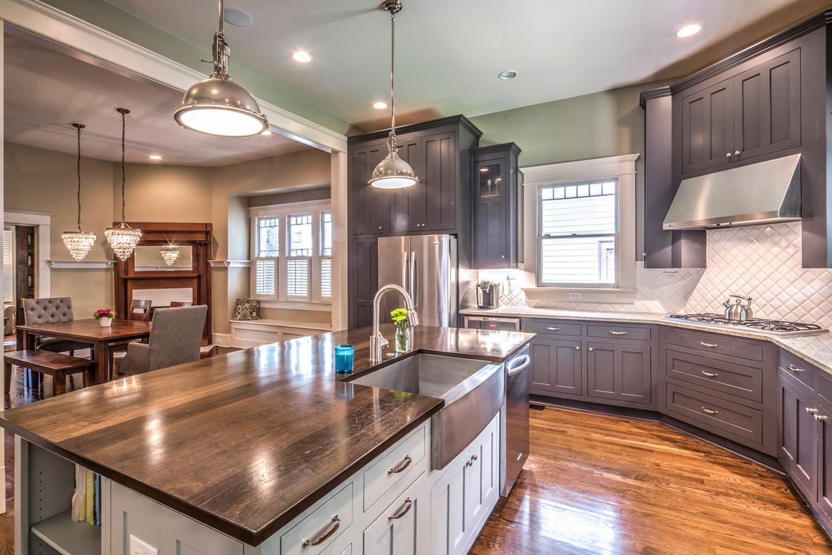 Craftsman Kitchen dark cabinets light white island