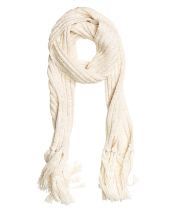 A chunky white scarf works with anything.