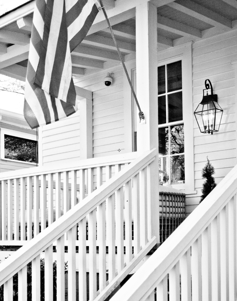 front porch with flag