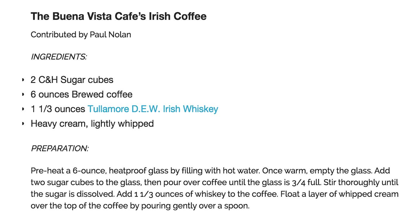 Buena Vista Irish Coffee Recipe