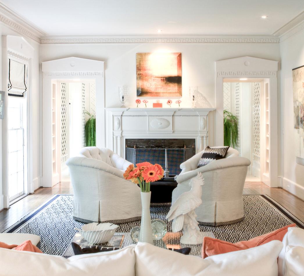living room with orange art