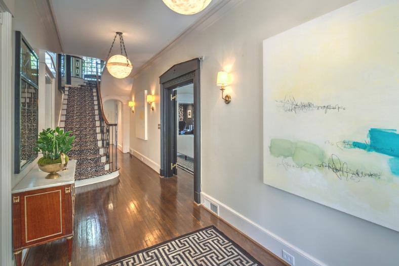 hallway with art