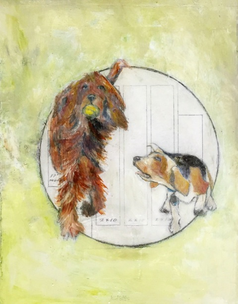 """""""Play Ball"""" -  Katherine McClure  9x12 Mixed Media on vintage book, coated in resin - $325"""