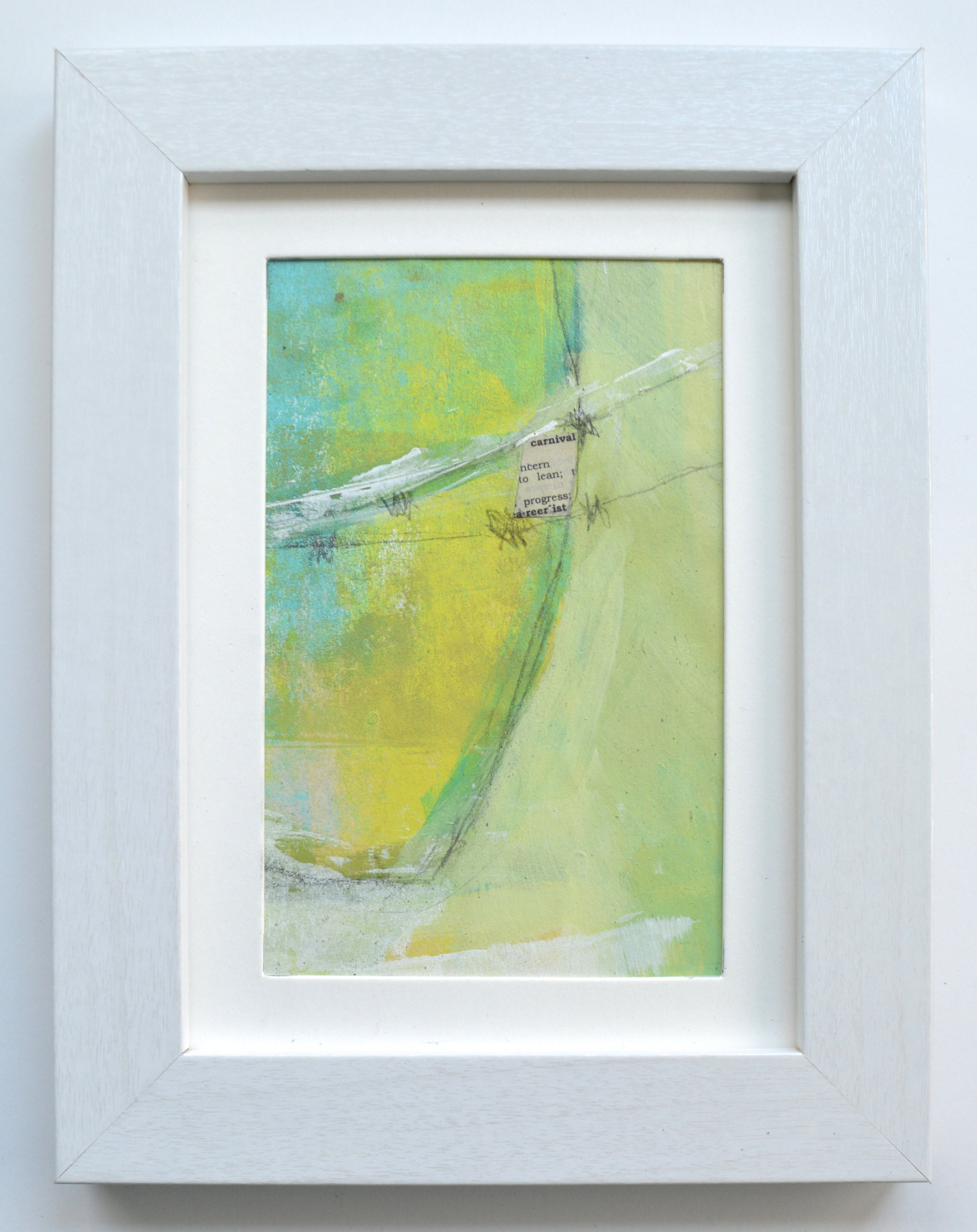 """""""Carnival Days"""" -Lee Brewster -4"""" x 6"""" mixed media & collage on paper in 5"""" x 7"""" frame -$53"""