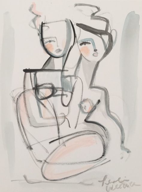 """""""Two by Two"""" by Leslie Weaver mixed media on heavy art paper size 9x12""""- $110"""
