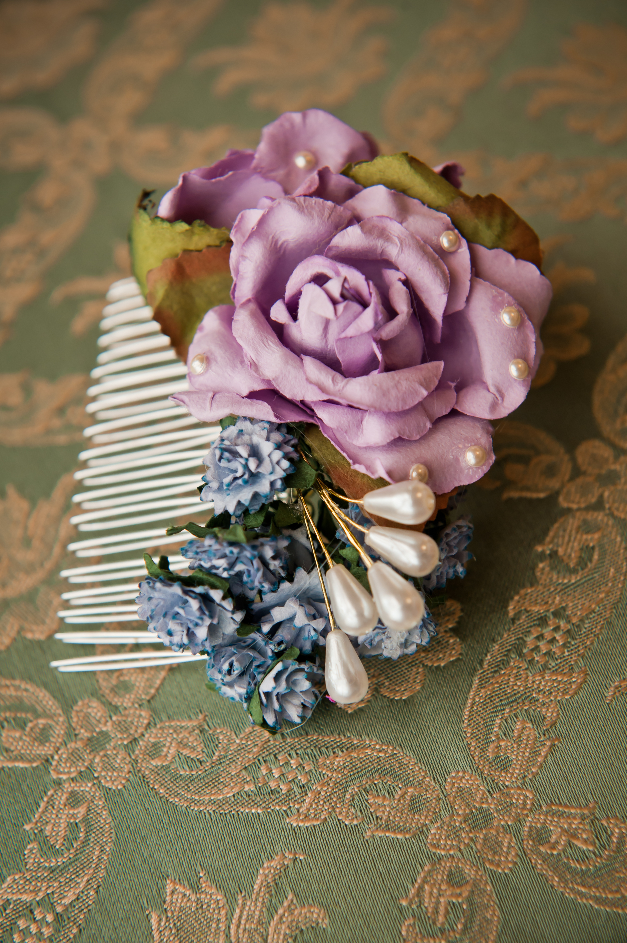 7,Katie Loves, Small Flower Comb, Ruby and Diva £42.50.JPG