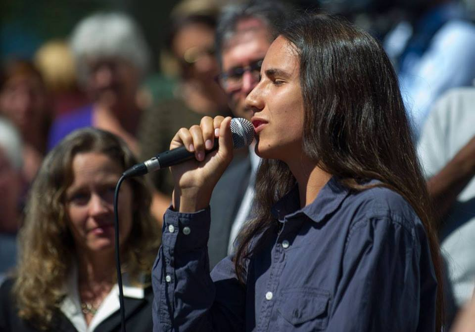 Xiuhtezcatl speaking at the press conference after the hearing. Photo credit - Robin Loznak