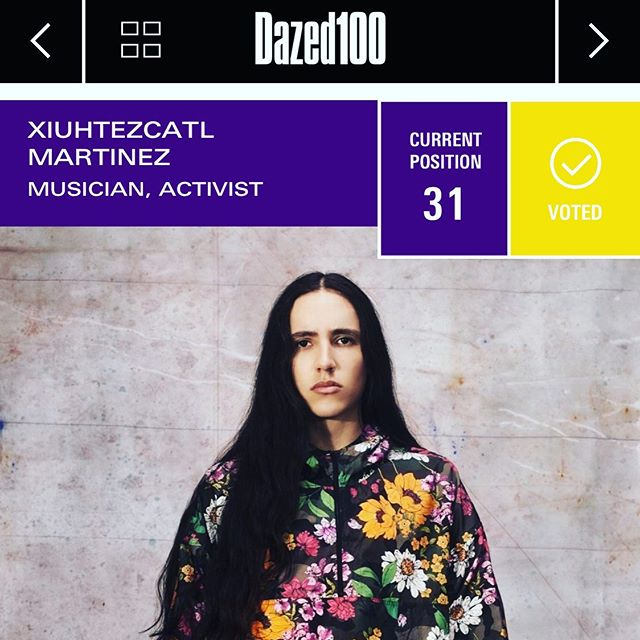 24 hours left to vote for Earth Guardian - Youth Director, Xiuhtezcatl Martinez! Paste the link into your browser VOTE and share. Let's take him to the top. Peace and Gratitude! Link also above in bio -  https://www.dazeddigital.com/projects/article/44042/1/xiuhtezcatl-martinez-activist-biography-dazed-100-2019-profile