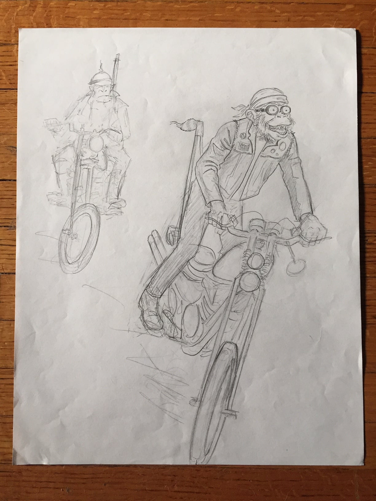 Early process sketch. Love the goggles.