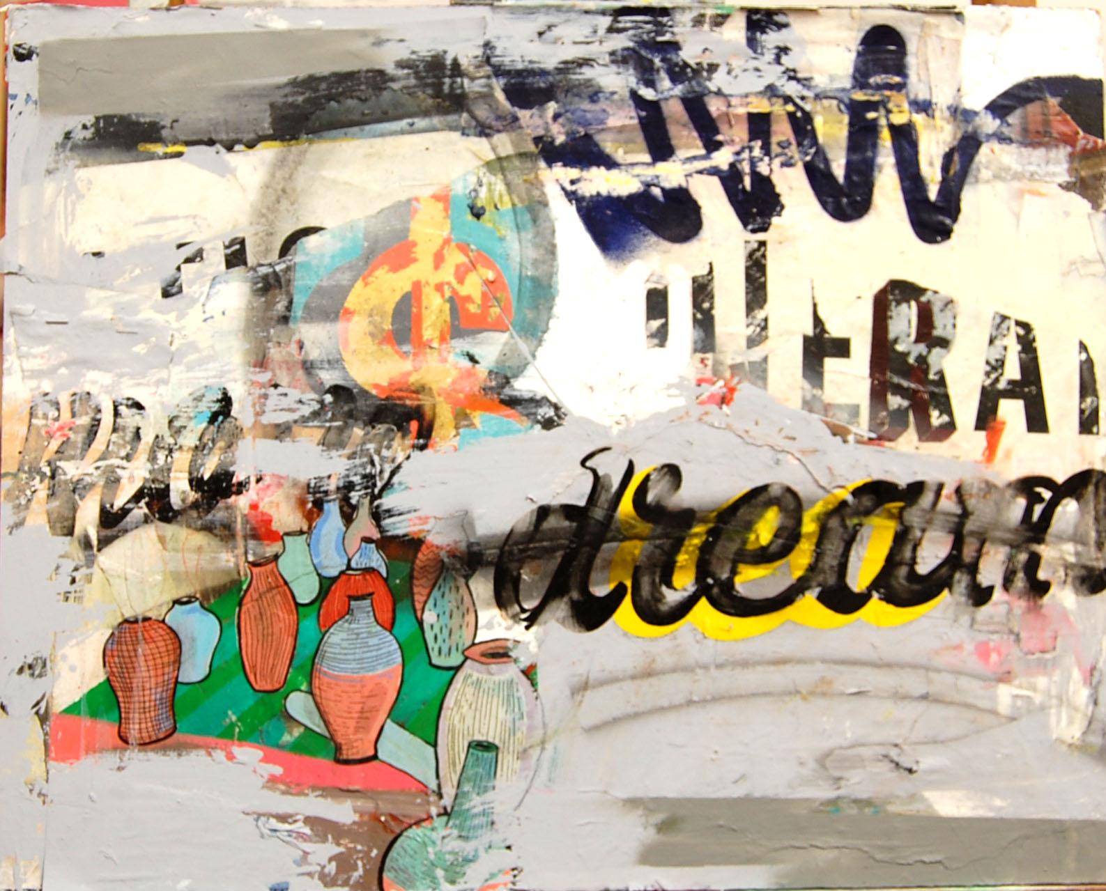 Want POT   Enamel,Oil,Acrylic,Collage, Spray, On Board. 52-42 cm 20-16 Inch