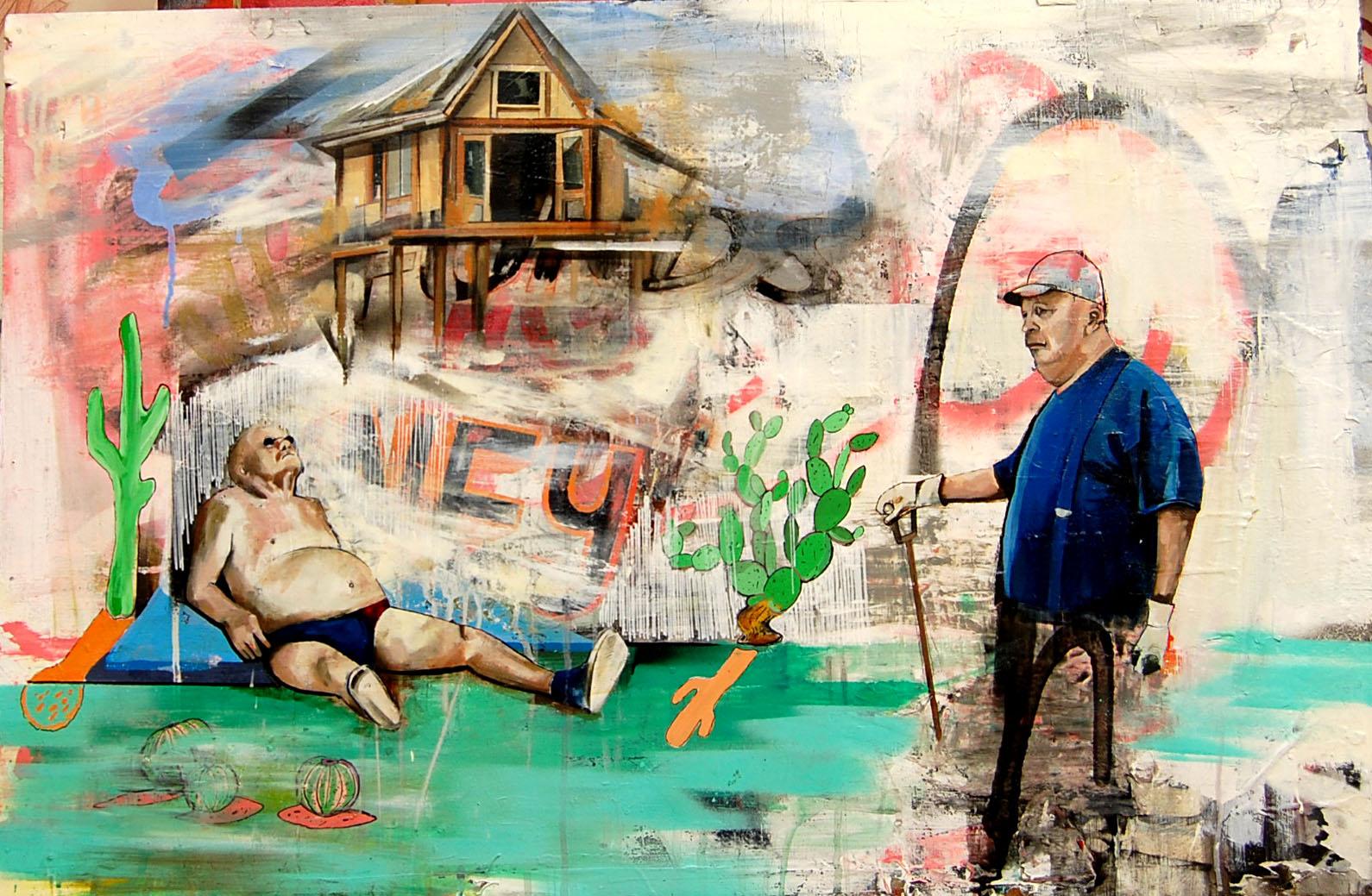 GAK-tus  Enamel,Oil,Acrylic,Collage, Spray, On Board. 60-92 cm 23-36 Inch