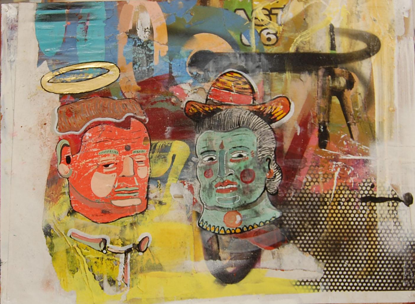 Two 2  Enamel,Oil,Acrylic,Collage, Spray, On Board. 52-38 cm 20-14 Inch