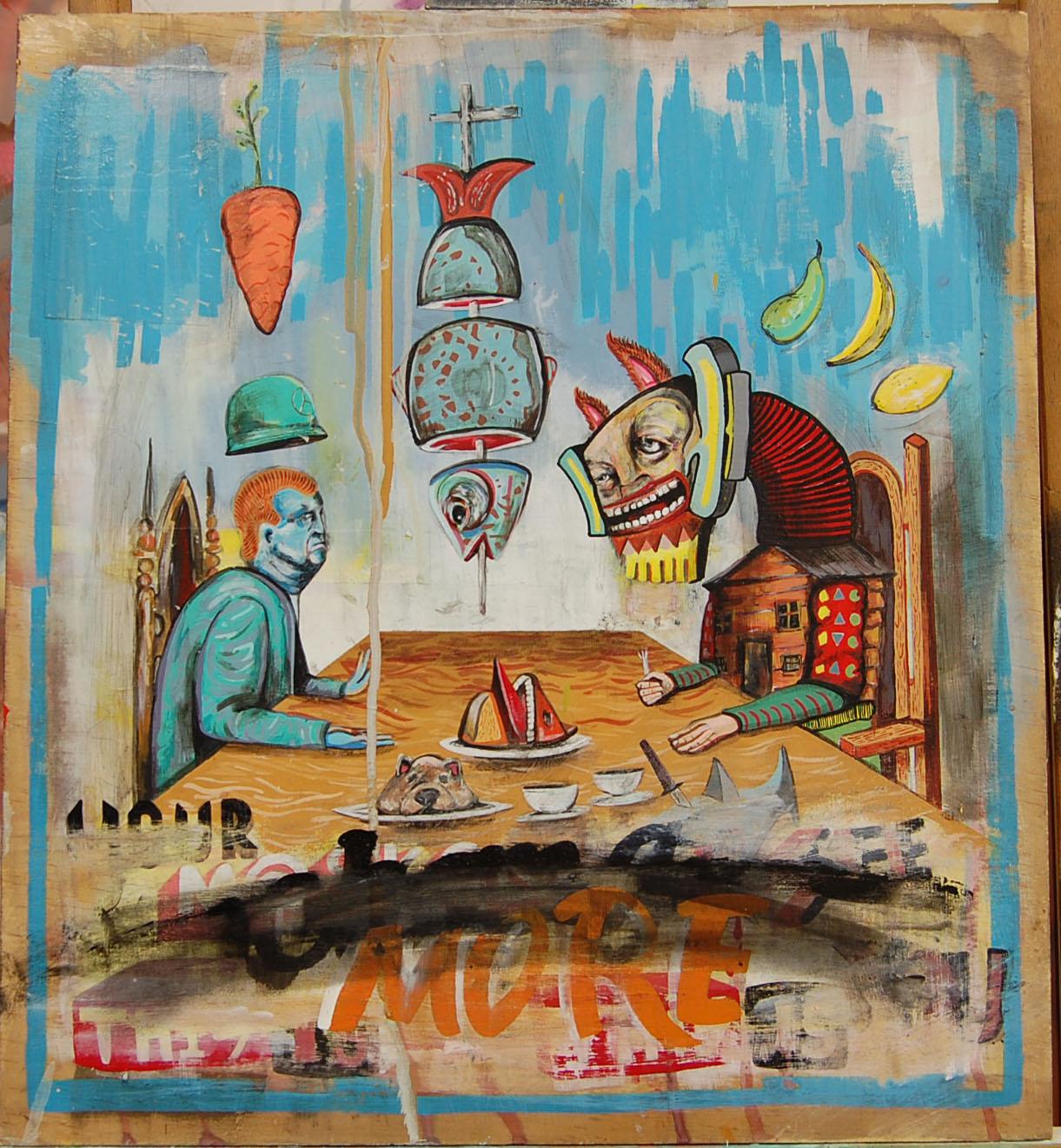 True Veg  Enamel,Oil,Acrylic,Collage, Spray, On Board. 48-44 cm 18-17 Inch