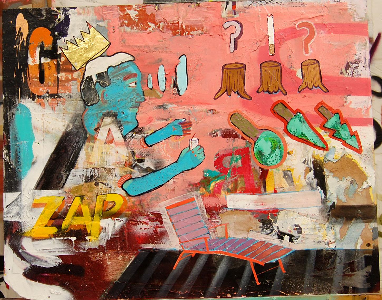 O.A.B  Enamel,Oil,Acrylic,Gold Leaf, Collage, Spray, On Board. 50-40 cm 19-15 Inch
