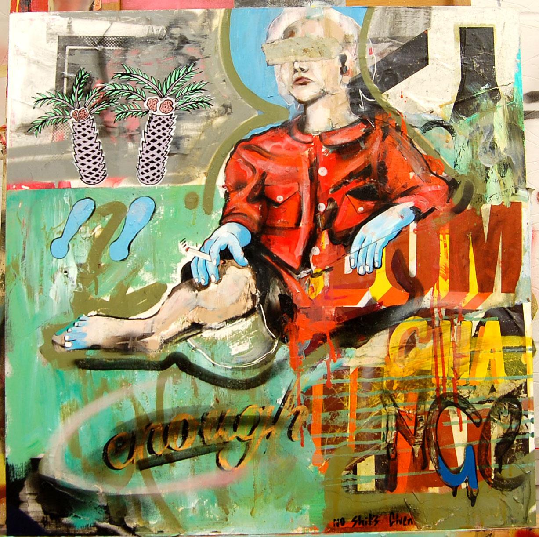 Palm  Enamel,Oil,Acrylic,Gold Leaf, Collage, Spray, On Board.   66-60 cm 25-23 Inch