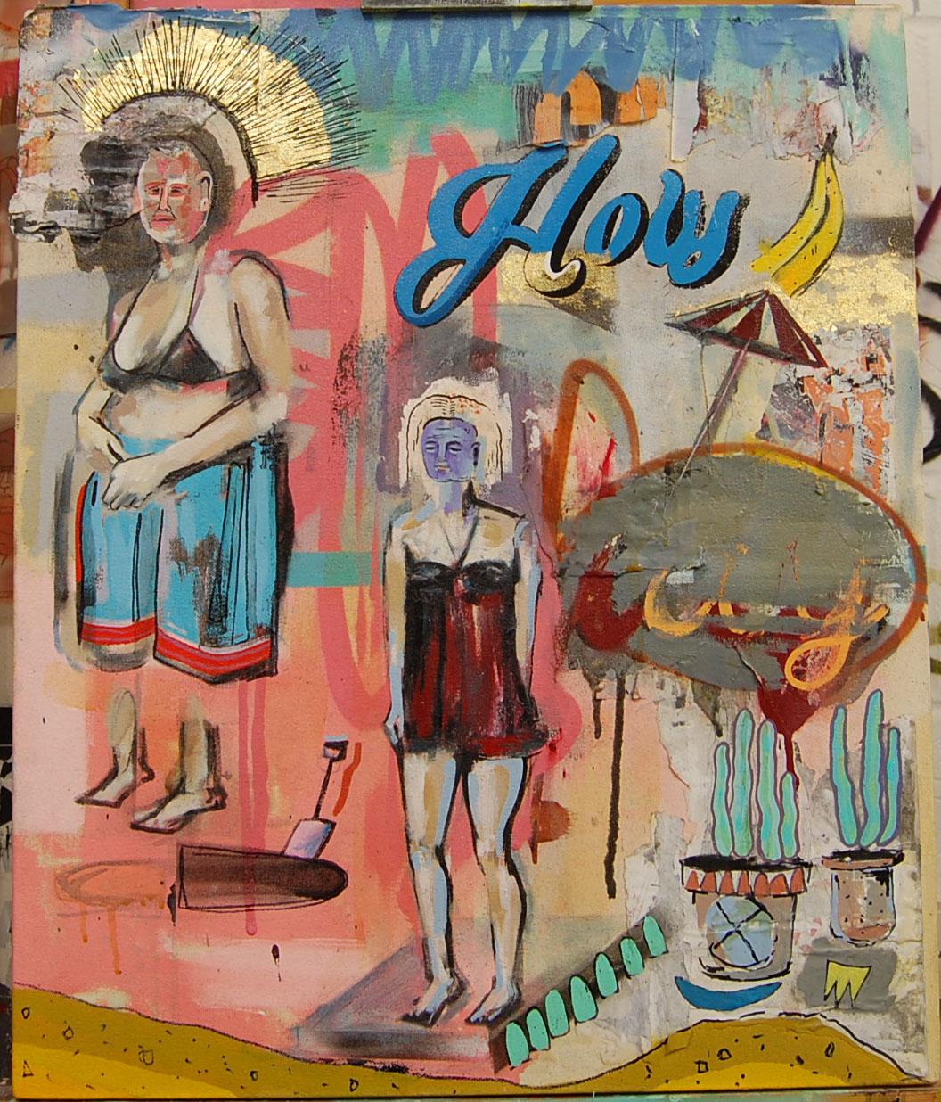 Holy  Enamel,Oil,Acrylic,Gold Leaf, Collage, Spray,On Canvas. 27.5-35.5 cm 10-14 Inch